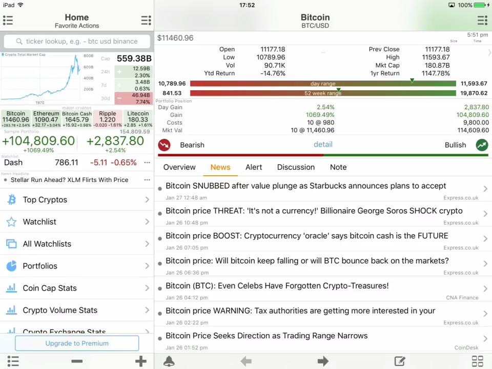Crypto Master realtime tracker screeenshot